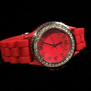 "Rhinestone and Rubber ""Bling"" watch by Geneva"